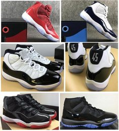carbon fiber Promo Codes - Real Carbon Fiber 11 Bred 2019 Concord 45 Space Jam Gym Red Midnight Navy Men Basketball Shoes 11s Best Quality Sneakers With Box