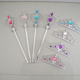 Multi cabeça mágica on-line-Snow Queen 2 II Tiara Coroa e Fancy Dress princesa Jóia Faixa de Cabelo Cosplay Magic Stick Headband Accesseries A110702 Wand Set Meninas da criança