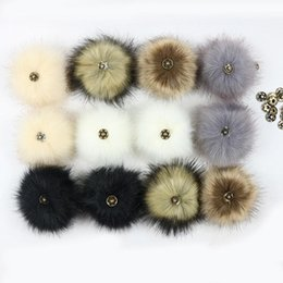 wool ball diy Promo Codes - False Hairball Hat Ball Pom Pom Handmade DIY Artificial Wool Ball Wholesale Cap Accessories Faux Fox Fur PomPom With Buckle