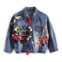 Женская одежда онлайн-Женская джинсовая куртка Fashion Harajuku Graffiti Patch Designs Свободное джинсовое пальто Женская повседневная Jaqueta Feminina Женская верхняя одежда
