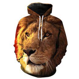 Rey león sudadera con capucha online-NUEVA LLEGADA Lion King Impresión Digital Estéreo Bolsa de Pasta Sudadera con Capucha para Hombres Jóvenes Diseñador Sudaderas Con Capucha Moda Hombres Hipster Sudadera