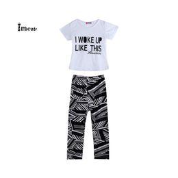pantalon garcon imprimé zèbre Promotion 2019 Nouvelle Mode Bébé Filles Garçons D'été Zèbre Imprimer T-Shirt Pantalon Tenues Définies Vêtements 2-9 Ans