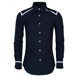diseño de tuberías camisetas Rebajas Mew Llegada Slim Fit Camisa de hombre Hight Quality Hombro y manga Piping diseño Hombre Camisa de vestir Trend Hombre de manga larga Camisas 4XL