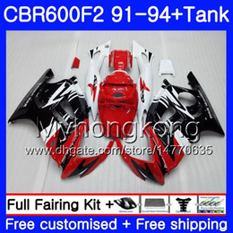 honda cbr f2 red fairings Promo Codes - Body+Tank For HONDA CBR 600F2 CBR600FS CBR600F2 91 92 93 94 New red black 288HM.7 CBR 600 F2 FS CBR600 F2 1991 1992 1993 1994 Fairing kit