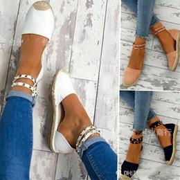 Sandalias de paja online-Remache inferior grueso sandalias de las señoras teje de la paja de gran código cuerda del cáñamo banda de la hebilla del deslizador de la manera de usar los zapatos Anti 36sdb I1