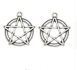 silver pentacle bracelet Coupons - 100pcs Antique Silver Plated Pentacle Star Charm Pendants for Jewelry Accessories Making Bracelet Findings DIY 31x28mm