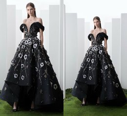 floral satin evening dress Coupons - 2019 Saiid Kobeisy Prom Dresses Off The Shoulder Lace 3D Floral Appliqued Beads High Low Evening Gowns Floor Length Formal Party Dress