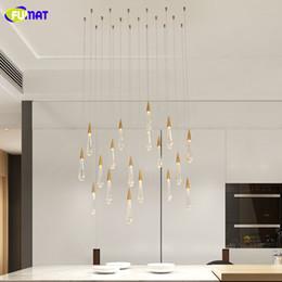 vasos de agua modernos Rebajas FUMAT Gold Water drop Luces colgantes de cristal Modern Luxury LED Lamps Moderm Glass Iluminación interior para sala de estar Lámparas DIY 5pcs