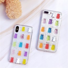 Casi cute iphone online-For iPhone 11 Pro MAX 7 8 Plus MAX XR Glitter Soft Cover Case Cute 3D Candy Colors Bear Phone Case