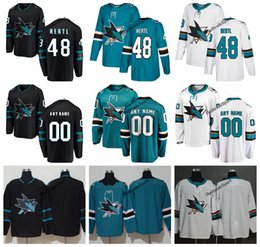jersey de 48 tubarões Desconto 2019 San Jose Tubarões Tomas Hertl Camisas De Hóquei Dos Homens Nova Alternativa Preta # 48 Tomas Hertl Costurado Jerseys Personalizar Nome Número