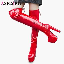 2019 tacchi di scarpe da 17cm SARAIRIS Nuovo 33-43 sexy 17cm Tacchi alti sopra il ginocchio Stivali signore della piattaforma della coscia stivali alti delle donne 2019 inverno pelliccia donna dei pattini tacchi di scarpe da 17cm economici
