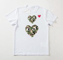 stampa cuore a maglia Sconti T-Shirt da donna a maniche lunghe a forma di cuore con stampa a cuore di stile nuovo 19SS T-shirt da donna a maniche corte in puro cotone