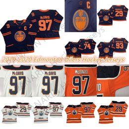 Edmonton Oilers 2019-2020 Third Jersey 97 Connor McDavid 99 Wayne Gretzky 29 Leon Draisaitl 93 Ryan Nugent-Hopkins-Hockeyjerseys von Fabrikanten