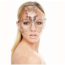 belas meias máscaras para mulheres Desconto Elegante da festa de casamento fantasma Máscara Máscara Rose Gold Mulheres Cadeia Traje Venetian filigrana do metal Laser Cut Cosplay Masquerade