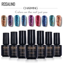 Gel di chiodo nero per gel online-ROSALIND Black Bottle 7ML Diamond Glitter W01-29 Gel per unghie Nail Polish Gel Polish UVLED Soak-Off Glitter Platinum Glue