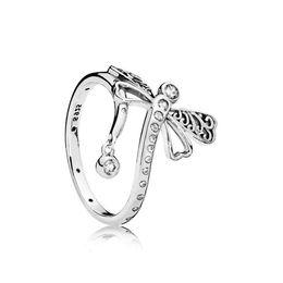 Anneaux libellules en Ligne-Beautiful Crystal libellule RING Original Box set pour Pandora 925 Sterling Silver CZ Diamond RING accessoires de mode