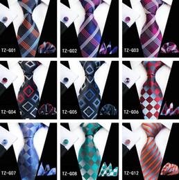 Mens Designer Series Plaid Tie laços Set para homens clássico de seda lenço Abotoaduras tecido jacquard Atacado gravata gravatas Laço dos homens Set de Fornecedores de engrenagem camisas