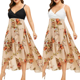 plus size women bohemia dresses Coupons - 2019 Summer Dress Fashion Sexy Women Plus Size V-neck Casual Bohemia Print Swing Dress Sling Backless Vestidos Robe Femme