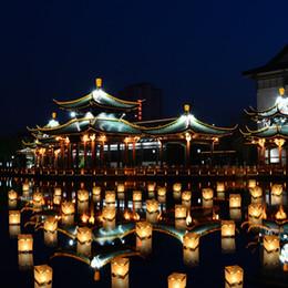 2019 luz de água flutuante Lanternas de Papel Flutuante de Água Luz Quadrado Lanternas Chinesas Bênção Festival Flutuante Desejando Luz Luz de Vela de Água desconto luz de água flutuante