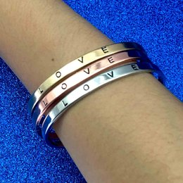 silver bangle bracelets wholesale Promo Codes - Forever Love Bracelet Letter Love Silver Rose Gold Adjustable Open Bracelets Bangle Cuff Fashion Jewelry Gift Will and Sandy drop shipping