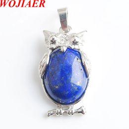 Lapis lazuli gem on-line-WOJIAER Águia Animal Colares Pingentes Menina Chakra Reiki Natural Lapis Lazuli Oval Convexo Gem Stone Beads Jóias DN8069