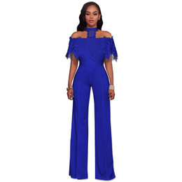 d5781f1ee1 New Women Jumpsuits 2019 Summer Sexy Lace Jumpsuit Office Work Fashion  Ruffles Plus Size 2XL Patchwork Jumpsuits Multicolor work jumpsuits women  for sale