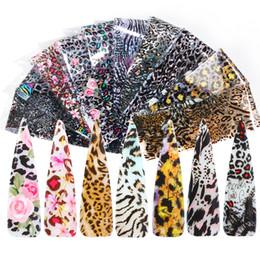impresión de etiqueta de tatuaje Rebajas 10 piezas de estampado de lámina de uñas de leopardo transparente adhesivo de uñas transferencia deslizante adhesivo tatuaje arte pegatinas DIY uñas de manicura punta