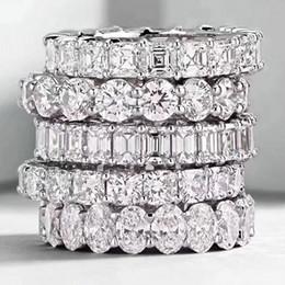 Prinzessin silber online-Choucong Vintage Modeschmuck Echt 925 Sterling Silber Prinzessin Weißer Topas CZ Diamant Ewigkeit Frauen Hochzeit Engagement Band Ring Geschenk