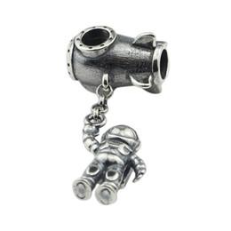 2019 corazon rosa pandora encantos colgantes Astronauta Charm Antique 925 Sterling Silver Beads Fit European Troll Pulsera Collar Joyas