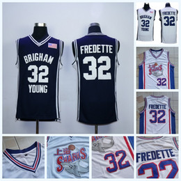 0729bf75aed 32 Jimmer Fredette Brigham Young Cougars College Basketball Jersey Mens  Jimmer Fredette Shanghai Sharks Movie Jersey All Stitched IN STOCK