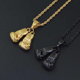 Stahl boxhandschuhe anhänger online-Hip Hop Boxhandschuhe Anhänger Halsketten für Männer Luxus Gold Schwarz Anhänger Edelstahl kubanische Kette Halskette Schmuck Geschenke für Boxer