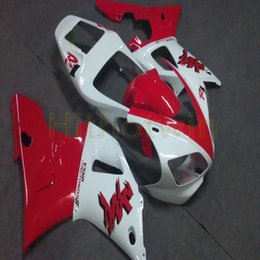2019 blanco yamaha r1 plastico Botls carenado de la motocicleta blanco + rojo de encargo para Yamaha YZF-R1 YZF R1 98-99 carenados de plástico ABS 1998-1999 blanco yamaha r1 plastico baratos