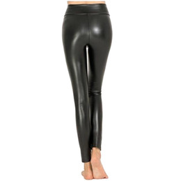 10145b5a0827e7 Women Hot Sexy Black Wet Look Faux Leather Leggings Slim Shiny Pants Plus  size S M L XL XXL