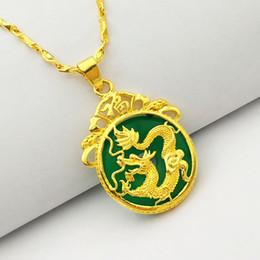 2019 chinesische gold halskette anhänger (167P) M.G.Fam chinesischer alter Maskottchen-Drache-hängende Halskette 24K vergoldete grüne malaysische Jade mit 45cm Kette 2pcs günstig chinesische gold halskette anhänger