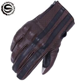 Коричневые кожаные перчатки мотоцикла онлайн-SFK Brown Ретро Мотоциклетные Перчатки Мужчины Сенсорный Экран Кожа Мотоцикла Козьей Кожи Мотокросс Перчатки Motocicleta Guantes Moto Luvas