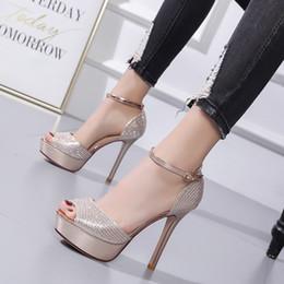 Orteils orteils en Ligne-12 cm paillettes or strass peep toe talons hauts chaussures de mariée mariage mode designer de luxe femmes chaussures taille 34 à 39