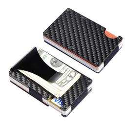 Мини-тонкий кошелек онлайн-Держатели нового прибытия мужские деньги клип Алюминиевый RFID Мини кошелек сумка кредитной карты бизнеса Тонкий Оптовая Smail Traver Несессер