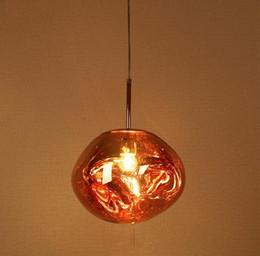 abat-jour pendentif rouge Promotion Lustre moderne boule E27 ampoule rouge / ruban / or plaqué verre Shade suspension pour salle à manger cuisine loft décor LLFA