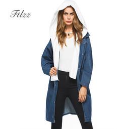 bonés das mulheres da trincheira Desconto Mulheres Soltas Médio Longo Trench Coat Coreano Novo 2019 Moda Primavera Outono Denim Blusão Feminino Casuais Casacos Chapéu Removível