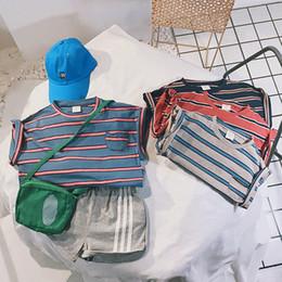 meninos listrado camiseta Desconto Ins Best Sellling Crianças Listrado T-shirt Meninas Respirável Camisas Meninos Sweat Absorção Tshirts 4 Cores Tops