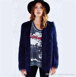abrigos de invierno para mujer sexy Rebajas Diseñador de invierno para mujer Abrigo de piel Color sólido Cuello en V Manga larga para mujer Prendas de abrigo Sueltas abrigos de piel de las señoras atractivas