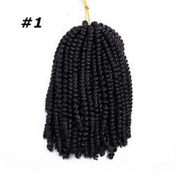 2019 extensiones de cabello de primavera Crochet sintético Trenzado para el pelo Color de Ombre único Resorte por torsión Extensiones de cabello sintético 110 g 60 Estrandes Más vendidos extensiones de cabello de primavera baratos