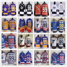 2019 jérsei do hóquei dos reis do la Vintage CCM New York Rangers 99 Wayne Gretzky Jerseys azul do hóquei St Louis Blues LA Los Angeles Kings Retro Branco Preto Laranja Amarelo desconto jérsei do hóquei dos reis do la