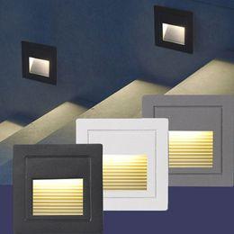 2019 белые наружные настенные светильники 3W Внутренний светодиодный свет Шаг лестничные Light Wall Embedded Открытый водонепроницаемый Подземные лампы освещения Deck рампе 85-265