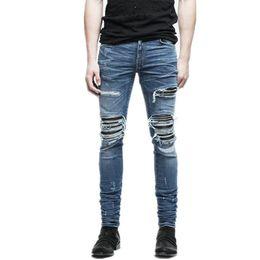 5f0e397c2b Nuevos Pantalones de mezclilla para hombre ropa cremallera flaco biker jeans  hombres slim fit justin bieber jean Vintage ripped blue denim hombres jeans  ...