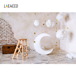 models for photography Promo Codes - Laeacco Brick Wall Moon Model Cotton Clouds Baby Photography Backgrounds Customized Photographic Backdrops For Photo Studio