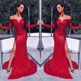 Luces de caída profunda online-Hot Afraic Girl Red Sheath Prom Evening Dress Sequins Mermaid Long Sleeve Formal Party Gown Off Shoulder Pageant Gown Custom Made