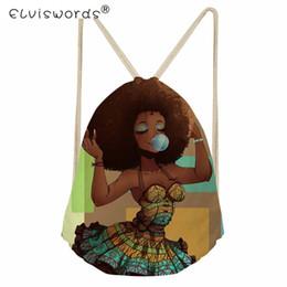 Cordes africaines en Ligne-ELVISWORDS Afro Filles Femmes Sac À Cordon Noir Art Africain Traditionnel Tribal Ethnique Femme Sac À Dos Lady String Sacs À Bandoulière