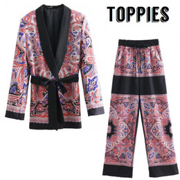 chaqueta recta vintage Rebajas 2019 Spring Leisure Suit Set Vintage Kimono Blazer Jacket Drawstring Straight Pants Pijamas Style Printing Conjunto de dos piezas