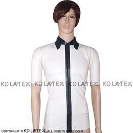 60a4df8f33a1db White With Black Sexy Latex Shirt With Zipper At Front Short Sleeves Fetish  Rubber Clothings Plus Size Hotsales YF-0028 latex shirt sexy promotion